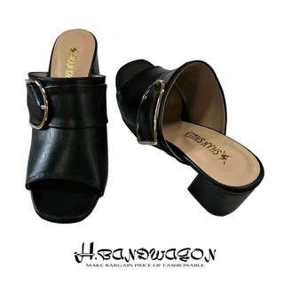 【H.BANDWAGON】時尚皮質寬帶包覆金屬馬蹄釦造型粗跟中跟涼鞋