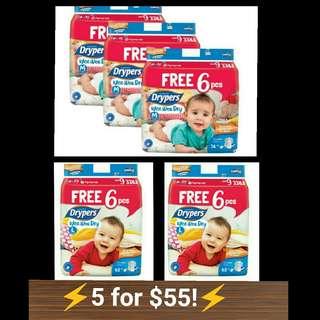 Drypers tape M 74 + 6pcs L62 + 6 pcs diapers