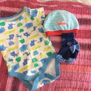 Baby Romper + Sock + Hat