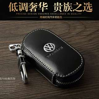 Genuine Leather Logo Chain Door Car Key Zipper Holder Wallet Bag
