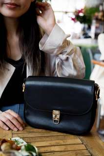 Celine 中古馬車扣 手袋 vintage black leather bag with horse carriage clasp lock 🐴