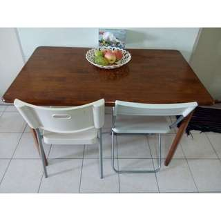 Table Study Meja Dinning Solid Wood Foldable Legs