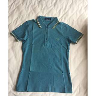 """""""BRAND-NEW"""" FRED PERRY Ladies Polo Twin Tipped Clay Blue Shirt (Size: US8)"""