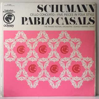 Schumann / Pablo Casals / The Prades Festival Orchestra* / Leopold Mannes ‎– Cello Concerto - Five Pieces In Folk Style (1960s USA Pressing - Vinyl is Excellent)