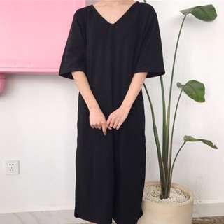V領黑色連身裙