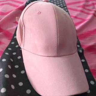 ONHAND SUEDE PASTEL PINK CAP