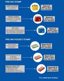 Pre-ink rubber stamp / pocket rubber stamp