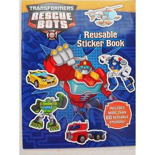 100% Brand New Instocks Transformers Rescue Bots Reusable Sticker Book ( Chase Heatwave Blades Boulder Griffin Rock Boys Bday Birthday Party Kids Goodie Goody Pack Bag Children)