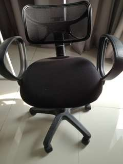 Ikea Black Swivel Chair with Armrests