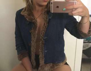 Vintage Denim faux fur jacket