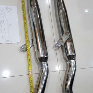 Exhust Pipes Fish Tail Chrome Twin Exhaust Pipes