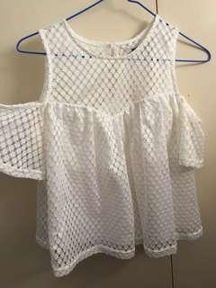 Off the shoulder mesh top