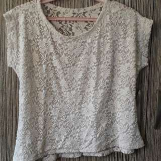 White Floral See-through back Cropped Top