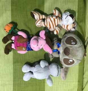 Stitch, piglet, tiger, hipo stuffed toys