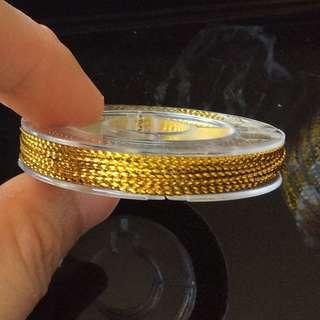 1 roll of 0.6mm Gold Metallic Non-Elastic Cord: 10 metre