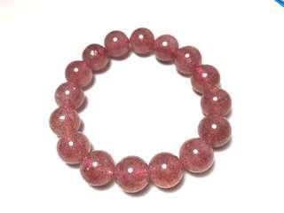🚚 高規格12mm草莓晶手珠,加強個人魅力、人緣,穩定情緒。免費代客淨化消磁。