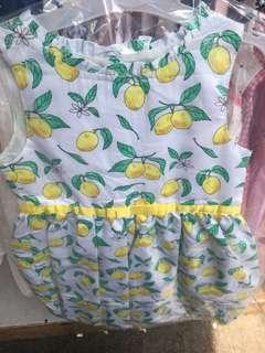 5-6歲小清新 檸檬圖案花裙
