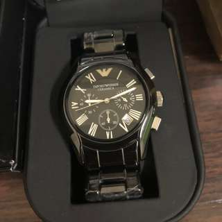 EMPORIO ARMANI AR1400 不銹鋼錶框及陶瓷錶帶