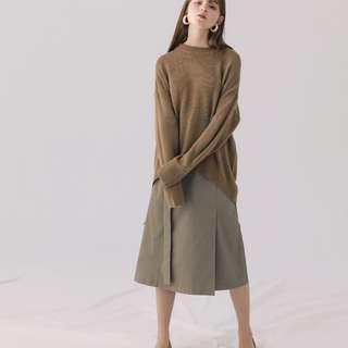 Meier.Q|大饅大力聯名款|俐落時尚綁帶長裙|淺灰綠|百搭|修身