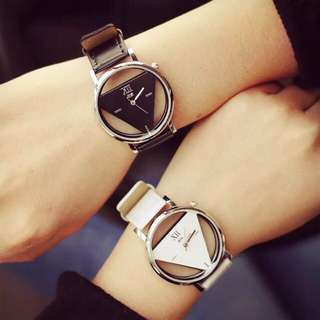 Couple Unisex Triangle Hollow Leather Quartz Sport Wrist Watch