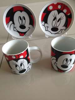 Mickey couple plate & cup