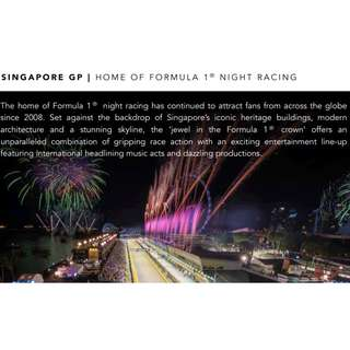 Formula 1 Singapore 2018 Ticket NOW Available!