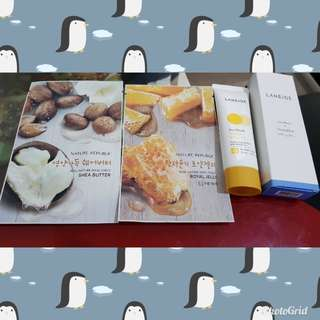 Lanaige sun block spf 30 isi 50ml masih 90%.Masker Nature republic 2.Take all only 140.000