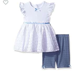 BN Cherokee Baby Girl Eyelet Blue Tunic with Shorts Set 12mths