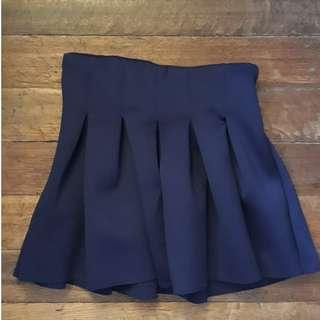 Highwaist Navy Blue Korean Tennis Skirt