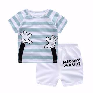 Mickey Casual Kid Clothing Summer Suit suit boys girls 2pcs Set (T-shirt + Pants)