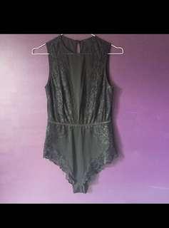 Bras n things black bodysuit size 12