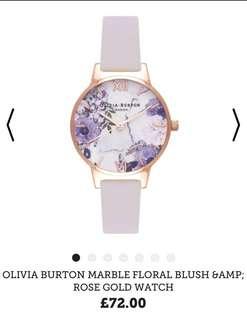 Olivia Burton marble floral blush samp rose gold watch