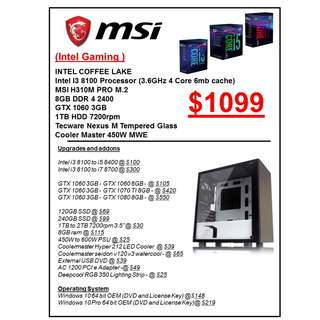 INTEL GAMING PC RIG CUSTOMISED CUSTOM BUILD PC services service