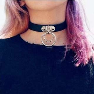 Black choker with ring - doof wear