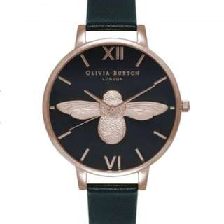Olivia Burton 3d bee black dial and rose gold