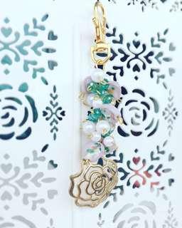 Flower bagcharm for sakura swirl, whimsical watercolor jujube
