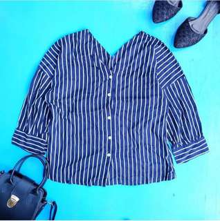 V stripe navy LUCY