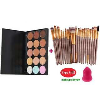 15 Color Makeup Facial Concealer Camouflage Palette Eyeshadow 20 pcs / set (Gold & Coffee) Free 1 makeup sponge