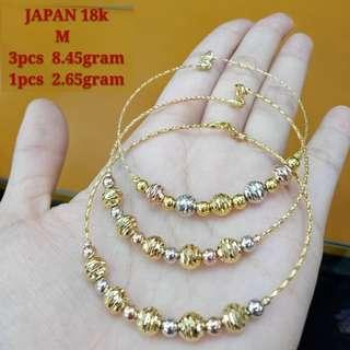 18K JAPAN GOLD BANGLES ( 1pc = 7,288  3pcs = 23,238 )