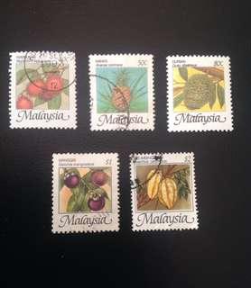 Malaysia 1986 Fruits of Malaysia Def 5V Used (0329)