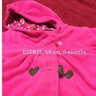 [女嬰衣物出清]Esprit女寶/女童桃紅連帽大衣