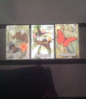 Malaysia 1970 National Butterflies Series 3V Used SG64 66 & 67 (0308)