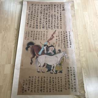 {Collectibles Item - Ancient Ink Painting} 明朝古画 Ming Dynasty Chinese Ancient Ink Painting On Paper -【天馬圖軸】 軸画長6尺8寸(208cm) 寛2尺6寸(78cm) - 仇英, 中國明代画家,【ca. 1495年-1552年】字实父、号十洲、生年不详。吴门四家之一。在畫史上與沈周、文徵明、唐寅合称【明四家】或【吴门四家】