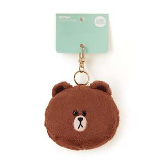 Line Brown Bear Coin Purse Keychain