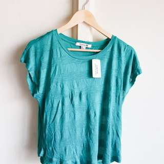 FOREVER21 Short Sleeve Knit Top in Jade Green