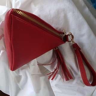 Triangle Red Clutch