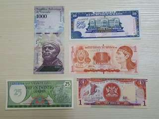5 pcs Foreign Banknotes