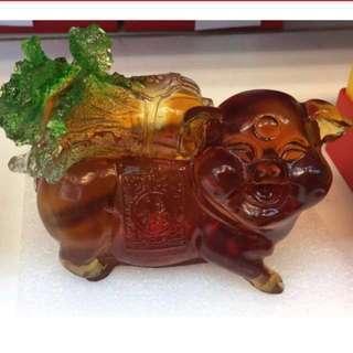 古法琉璃百财猪 1.65 KG CRYSTAL WEALTH FETCHING PIG 10% DISC BEFORE APRIL