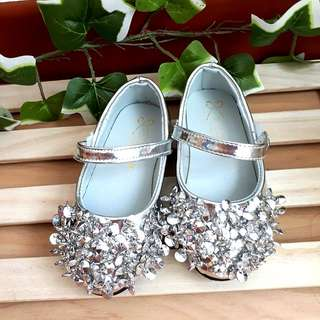 Size 26 Silver Glitter Bead Shoes