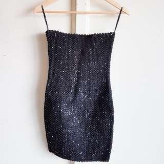 FOREVER21 Black Sequins Stretchable Bondage Dress